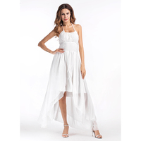 2017 Summer New Beach Maxi Dresses For Women Solid Chiffon Vestidos Sexy Backless Robes White Pleated