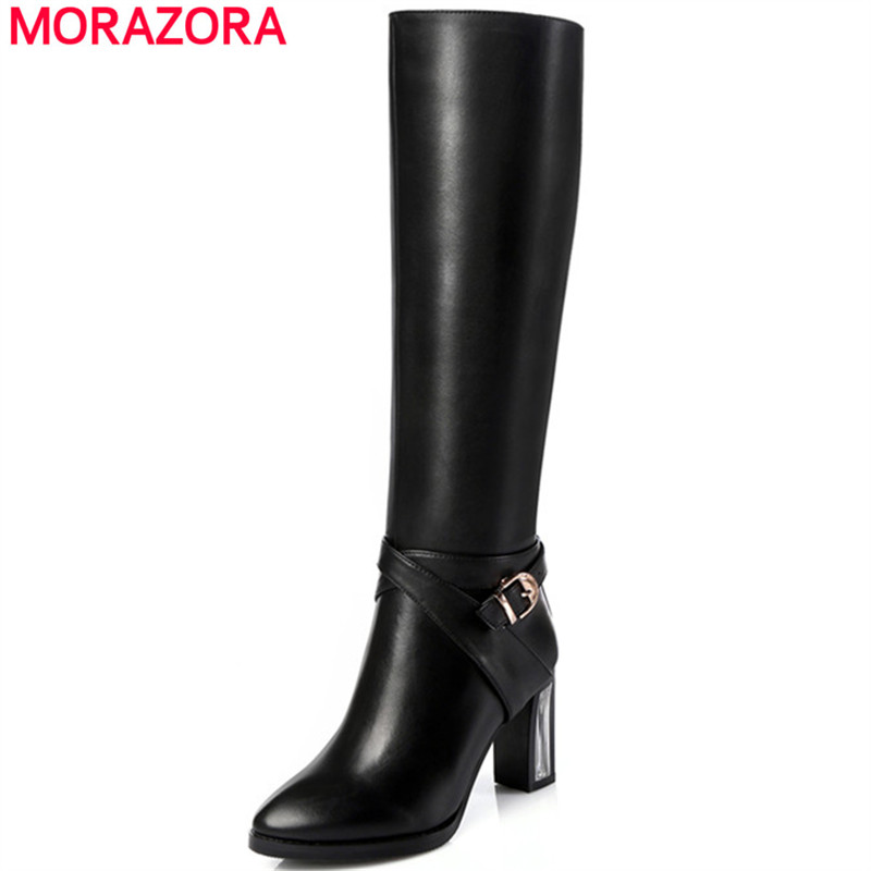 MORAZORA Knee high boots high quality pu=genuine leather boots high heels winter boot zipper womens boots fashion big size 34-45 2016 new fashion winter knee high boots high quality personality knee high boots comfortable genuine leather boots