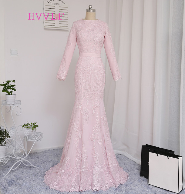 2019 Muslim Evening Dresses Mermaid Long Sleeves Pink Appliques Hijab Islamic  Dubai Abaya Kaftan Saudi Arabic Long Evening Gown 95320b9e4f45