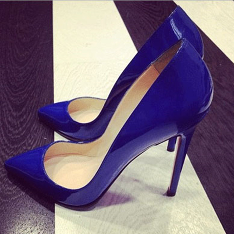shofoo shoes.Elegant style free shipping, blue leather, <font><b>12</b></font> <font><b>cm</b></font> <font><b>high</b></font> <font><b>heel</b></font> shoes, ladies <font><b>high</b></font> <font><b>heels</b></font>, pointed toe pumps.SIZE:34-45 image