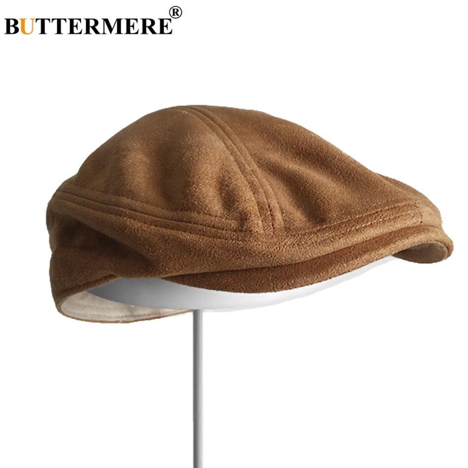 0a26c67bb3d40 Features  Suede Leather Berets Women   Vintage Flat Caps Men   Autumn Winter  Duckbill Ivy Cap