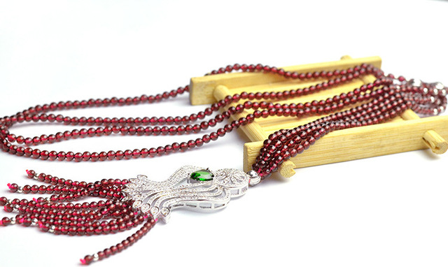 Grade 5A natural garnet necklace beads 3.5mm health beauty fine jewelry accessories bijoux women chains jewellery gifts