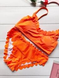 2018 Floral Border Pattern Bikini Set Sexy Swimsuit Bathing Suit Swimwear For Women Beachwear
