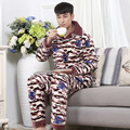 4XL Winter autumn thick warm flannel pajamas sets plus size leisure fleece long-sleeved household men elastic waist sleepwear MQ