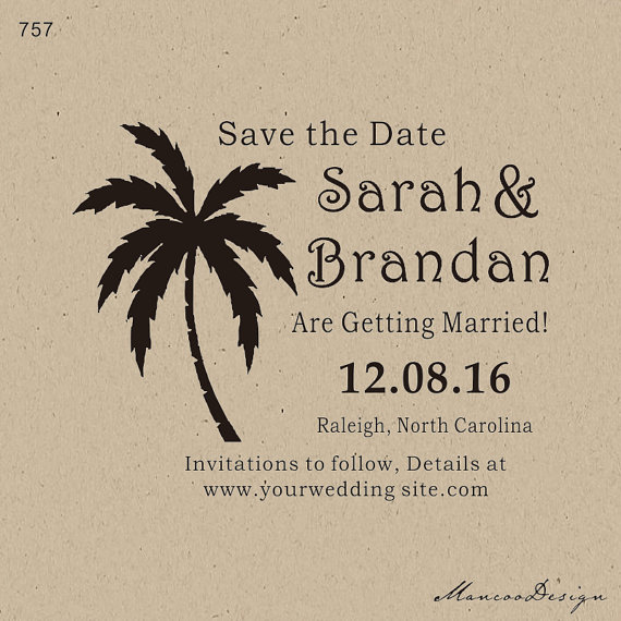 DIY Personalized Stamp Seaside Palm Tree Custom Rubber Save The Date In Stamps From Home Garden On Aliexpress
