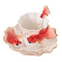 200CC 3D Poisson Rouge Café Tasse Ensemble Émail Porcelaine Thé Lait Tasse Porcelaine Creative Céramique Européenne Verres 4 Couleur