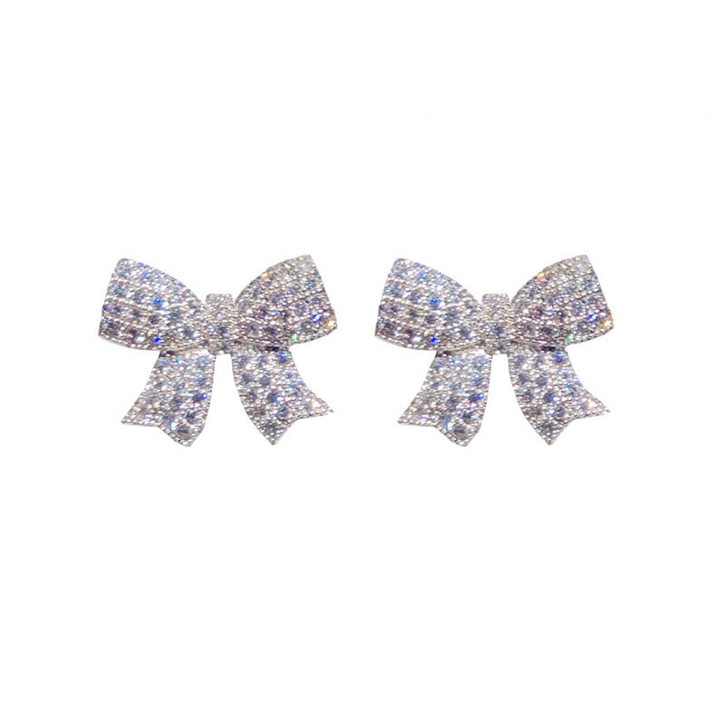 Image 5 - Stud Earrings For Women Solid 925 Silver Needles Bowknot Cubic Zirconia Fine Jewelry Lovely Sweet Cute Brincos Top Quality-in Earrings from Jewelry & Accessories