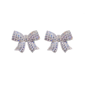 Image 5 - Stud Earrings For Women Solid 925 Silver Needles Bowknot Cubic Zirconia Fine Jewelry Lovely Sweet Cute Brincos Top Quality