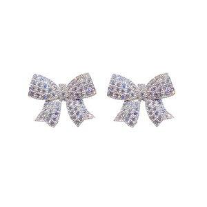 Image 5 - Stud Ohrringe Für Frauen Solide 925 Silber Nadeln Bowknot Zirkonia Feine Schmuck Schöne Süße Nette Brincos Top Qualität