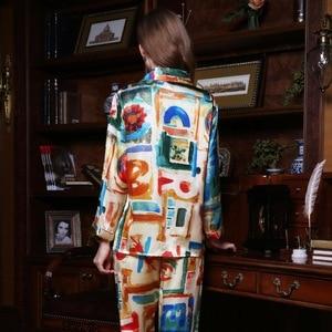 Image 2 - Fashion Brand Real Silk Women Pajama Two Piece Printed 100% Silk Sleepwear Female Spring Autumn Long Sleeved Pyjama Sets YE1559