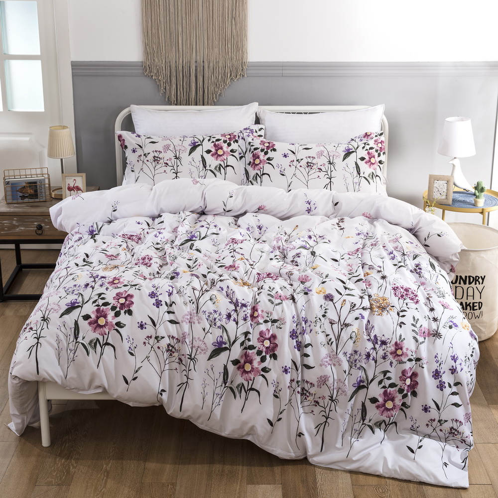 Bonenjoy White Color Bedding Set King Size Flower Printed Quilt Cover Bed Linen Set With Pillowcase Floral Double Bedding