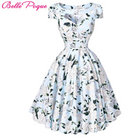 Women Dresses 50s 60s Casual Pinup Retro Dress BP008 Floral Print Short Sleeve Vestido Robe Rockabilly