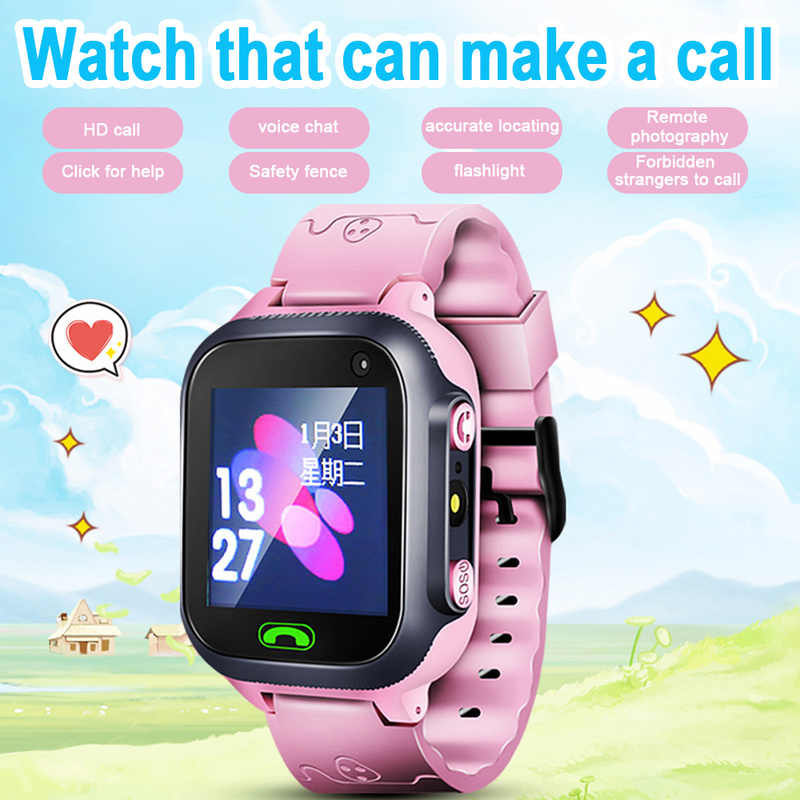 Children Smart Watch Camera Lighting Touch Screen SOS Call LBS Tracking Location Finder Kids Baby Smart Watch