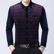 RICHARDROGER  2017 winter new business men's wear casual print and plush warm long sleeve shirt 2-3