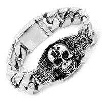 17mm Wide Large Heavy Rock Punk Bracelet Men Big Skull Oval Biker Bracelets Bangles Brushed Stainless