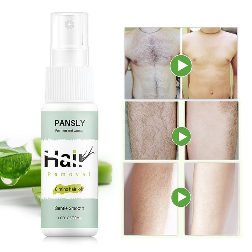 Pansly 8 Mins Hair Off Hair Removal Cream Face Body Hair Depilatory Beard Bikini Legs Armpit 30ml Painless Hair Remover Spray