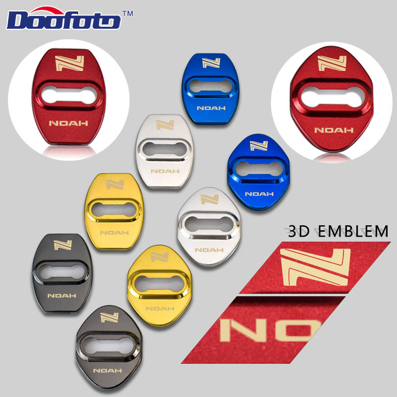 Doofoto Stainless Steel Auto Door Lock Buckle Cover 3D Design Car Styling Fit For Toyota Rav4 Noah Camry Yaris Badge Accessories