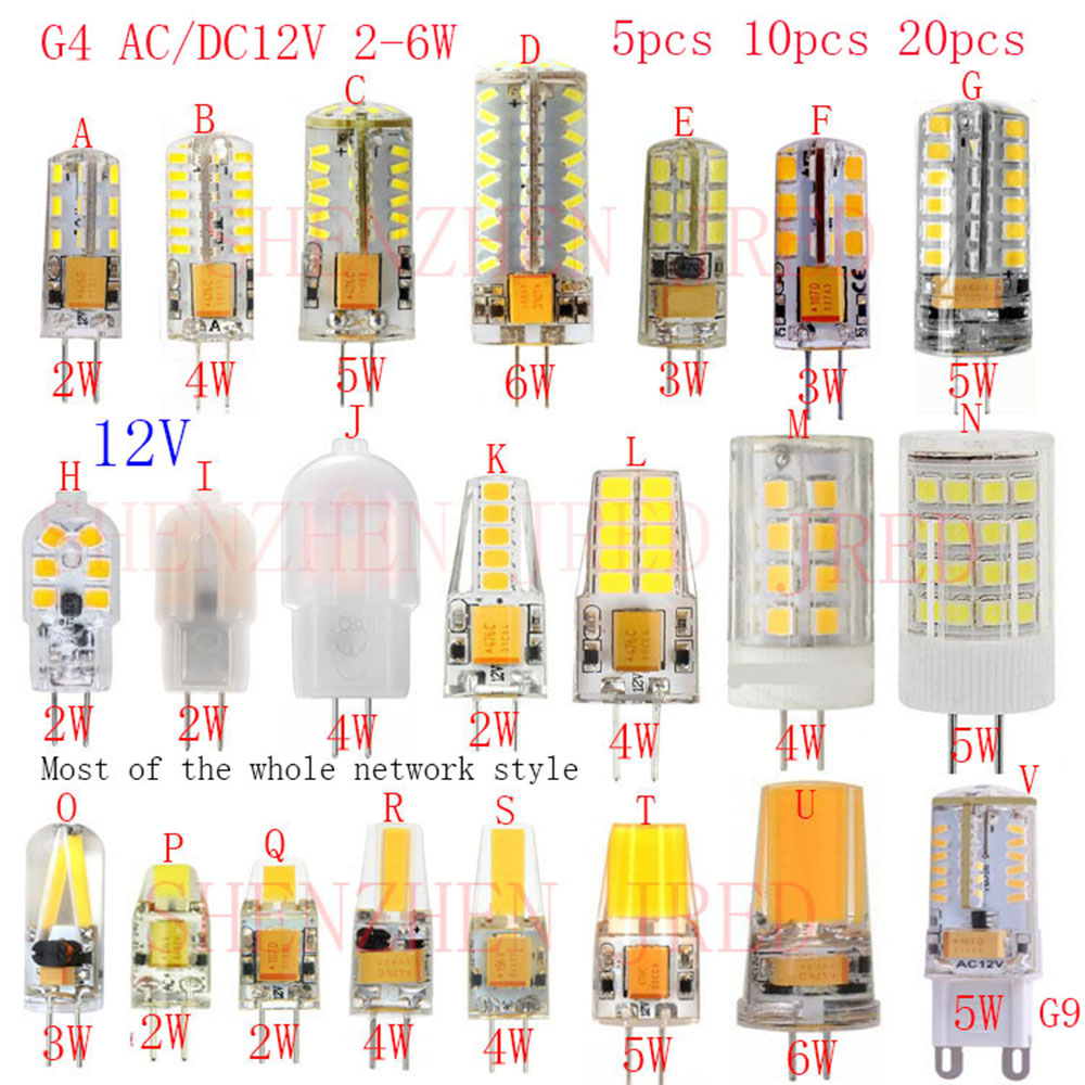5PCS <font><b>G4</b></font> Lamp Bulb AC/DC 12V 2W 3W 4W 5W 6W COB SMD 3014 SMD 2835 SMD LED Lighting Lights replace Halogen Spotlight Chandelier G9 image