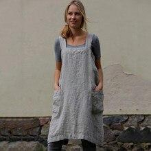 Vestido informal para mujer, de algodón, lino, delantal de Cruz cuadrada, delantal de trabajo en jardín, vestido vintage, vestidos con bolsillo 2019 A3