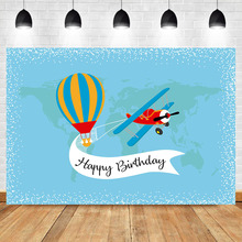 Happy Birthday Background Travel Around The World Backdrop Airplane Hot Air Boy Party Banner Photography Backdrops