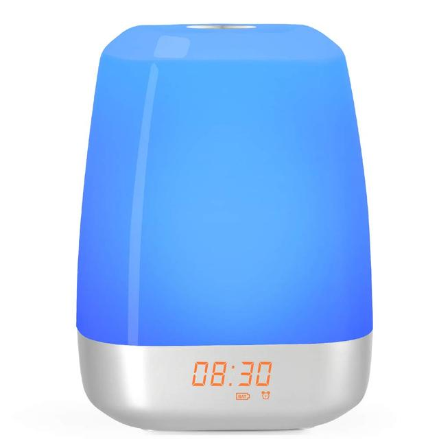 Hot Wake Up Light Alarm Clock  Press Control Multicolor Dimmable, Sunrise Simulation Digital Led Clock With Heavy Sleepers
