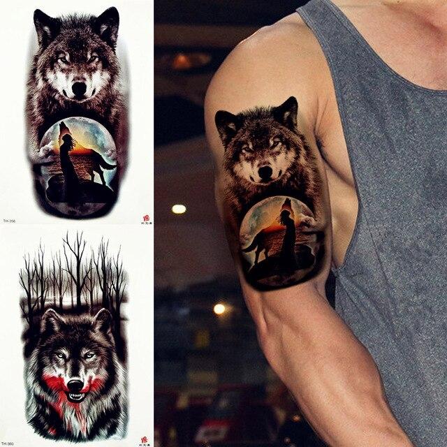 6e6c99a9b REJASKI Tribal Wolf Moon Howl Temporary Tattoo Sticker Cover Forest  Waterproof Tattoos Body Art Arm Fake Tatoo Men Fashion