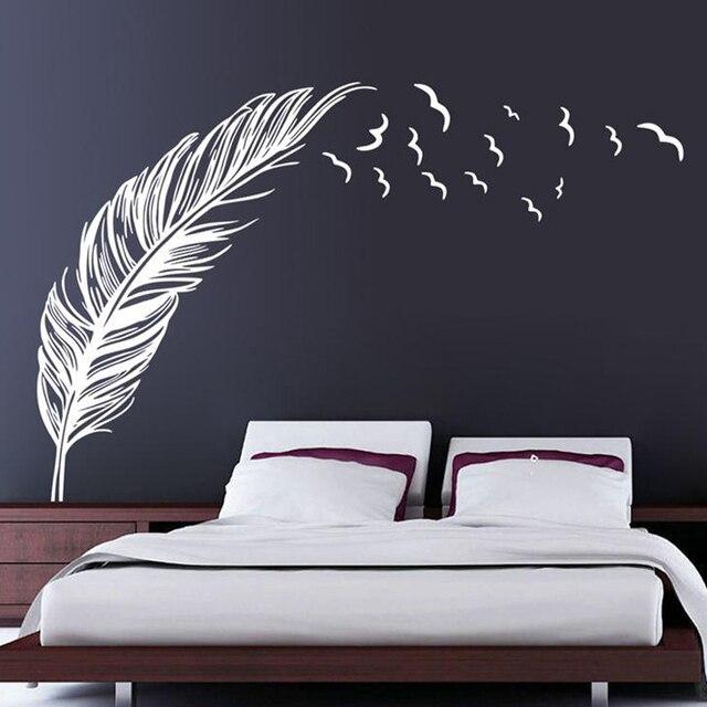 droit vol plume stickers muraux d cor la maison d coration de la maison papier peint mur. Black Bedroom Furniture Sets. Home Design Ideas