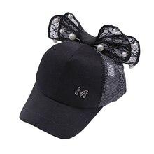 3-6Y niños niña moda gorra de béisbol del sombrero del sol perla arco tela  de malla visera sombrero ajustable todas las estacion. f4a562a5813