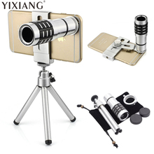 Best price YIXIANG Universal Mobile Phone Lens 12x Zoom Optical Telescope Tripod Holder Camera For iphone 6 7 Samsung Galaxy S6 S7 S8 Note