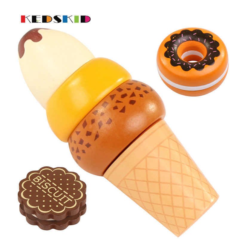 Single sale High-grade woodiness Fruit Vegetable Kitchen Cutting Toys Early Development and Education Toy for Baby Kids
