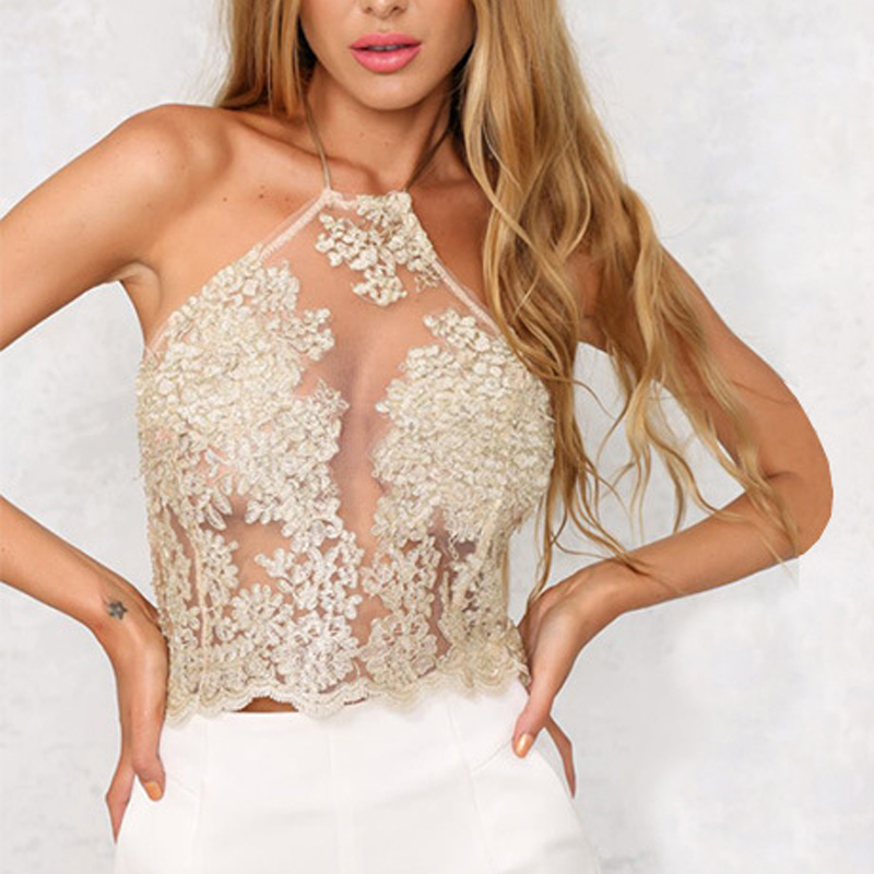 Mesh Sexy Summer Crop Top Female Lace Embroidery Cropped Feminino Halter Elegant Dill Top 2016 Tank Tops Womens Short Party
