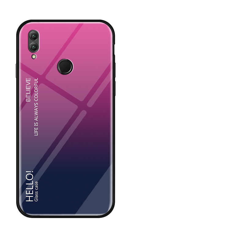 Funda de vidrio templado transparente para Huawei Honor Note10 gradiente Color azul Ray Aurora piel cubierta de lujo para Huawei Honor Note10