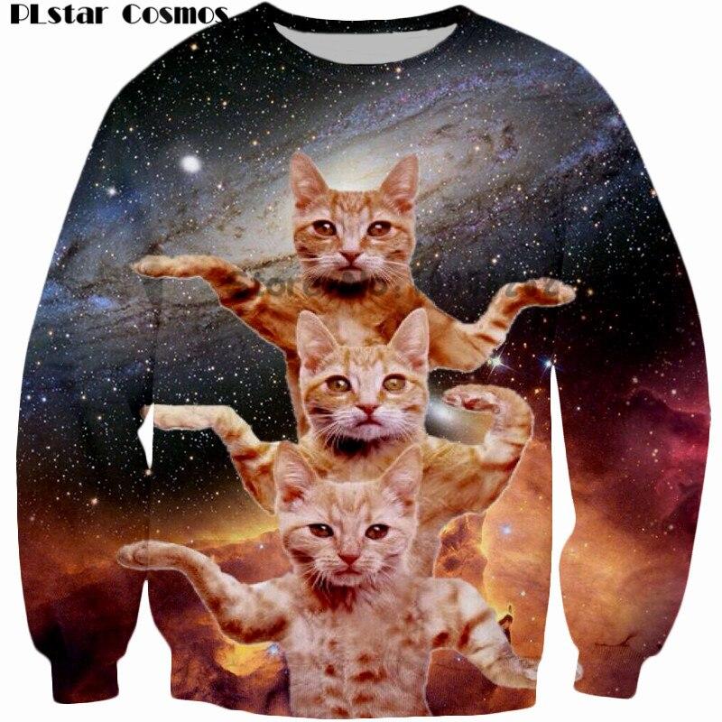 Fashion men/women Sweatshirt PLstar Cosmos Brand Clothing Space dancing cat 3D Hoodie Funny Hoodies Big Size S-5XL Drop shipping