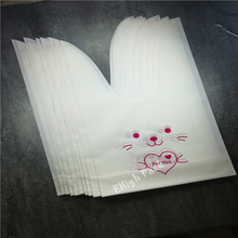 12.5*6.5mm 10pcs/lot cute rabbit ear cookie bag Self-adhesive Plastic Bag for Biscuit Snack Baking Package food bag(China (Mainland))