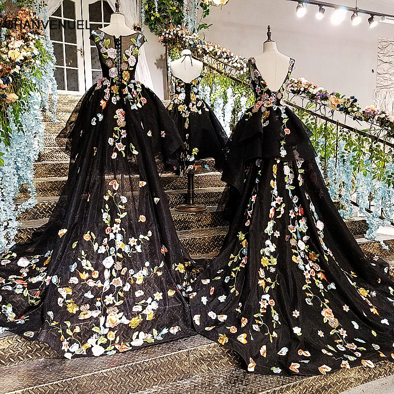 LS00134 Black Short Front Long Back   Evening     Dress   Lace Up Back Flowers Abendkleider Mother Daughter Gowns Real Photos 2018