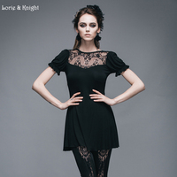 Gothic Retro Rose Lace Short Sleeves Black Long T Shirt Women Tops TT019