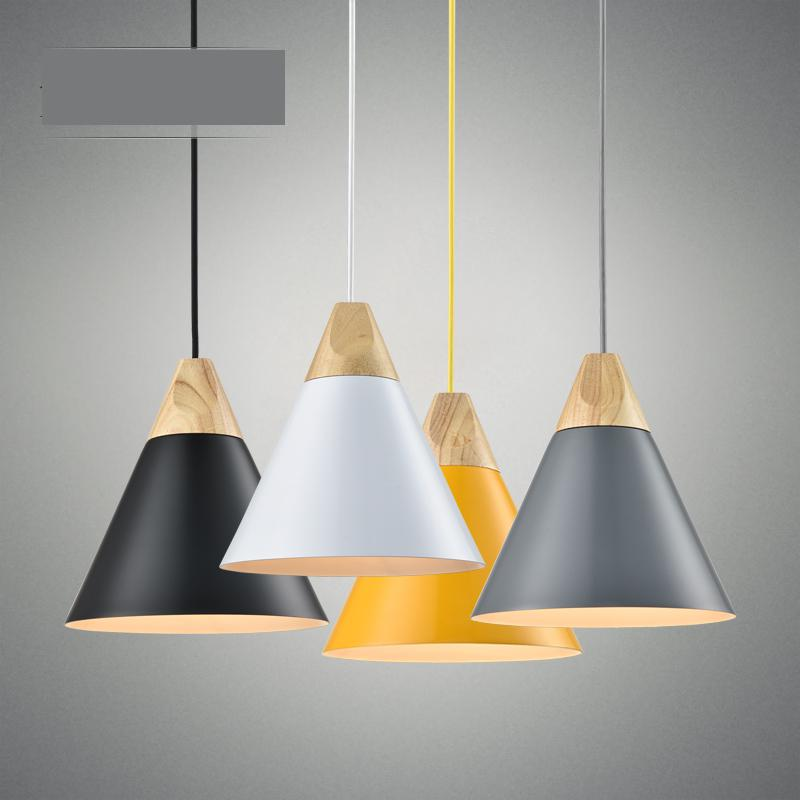 цена на Modern Brief 4 Colors Aluminum Wood Led E27 Slope Pendant Light For Dining Room Living Room Ac 80-265v 1120