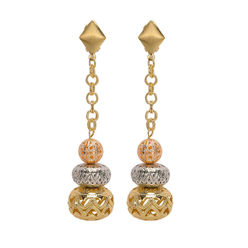 2019 Exquisite Dubai gold colorful wedding earrings Long Drop Dangle Earrings brand drop earrings Nigerian drop earrings