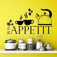 Bon Appetit Quote Wall Decals Coffee Cup Decal Kitchen Cafe Decor Vinyl