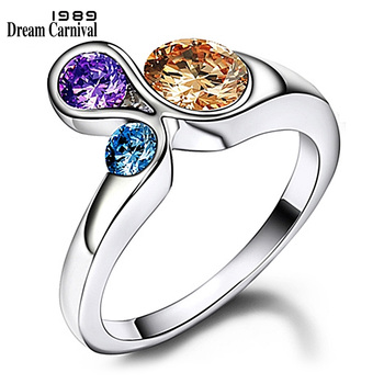 DreamCarnival1989 Zirconia Rings for Women Blue Purple Champagne Unique Wedding Band Anel Girls Jewelries Bijuox anillos mujer