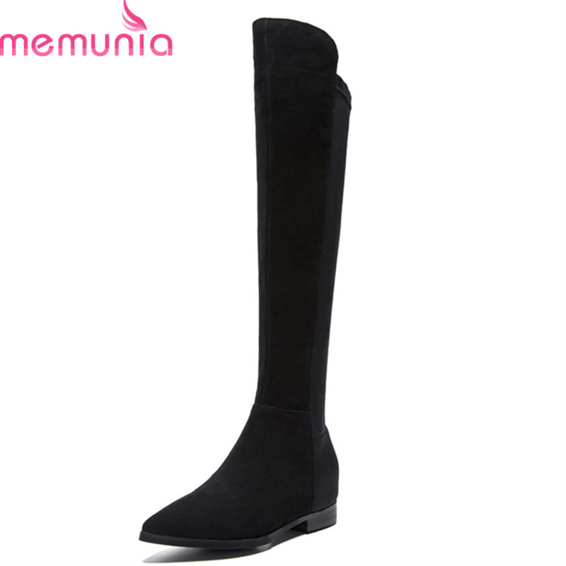 MEMUNIA 2018 newest over the knee boots for women cow suede leather autumn winter boots pointed toe thigh high boots lady shoes MEMUNIA 2018 newest over the knee boots for women cow suede leather autumn winter boots pointed toe thigh high boots lady shoes
