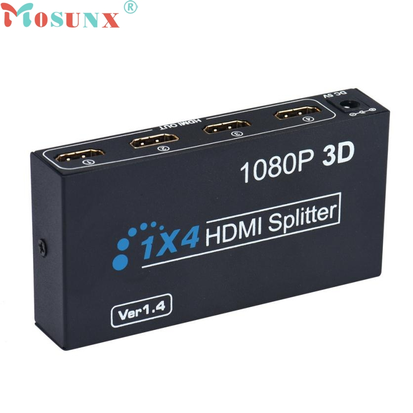 Top Quality OEM HDMI Splitter Box Full HD 1X4 4 Port Hub Repeater 3D 1080P US Plug MAY31