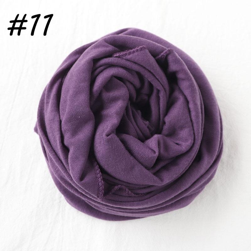 Один кусок хиджаб шарф Макси шали шарфы женские мусульманские хиджабы мусульманская леди палантин splid однотонное Джерси хиджаб 70x160 см - Цвет: 11 deep purple