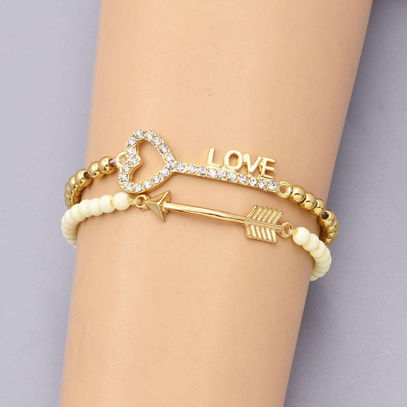 New fashion accessories jewelry bead chain link key love arrow charm bracelet nice gift for women girl B3369