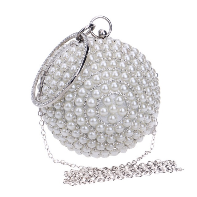 Handmade Pearl Beaded Clutch Wedding Bags