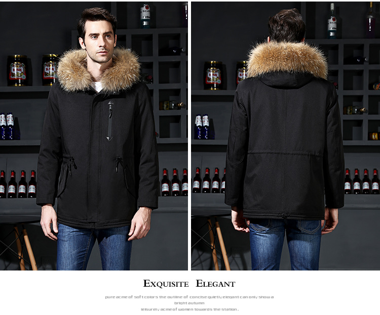 16  2018 new winter men's jacket high quality fur collar coats windproof warm jackets man casual coat clothing