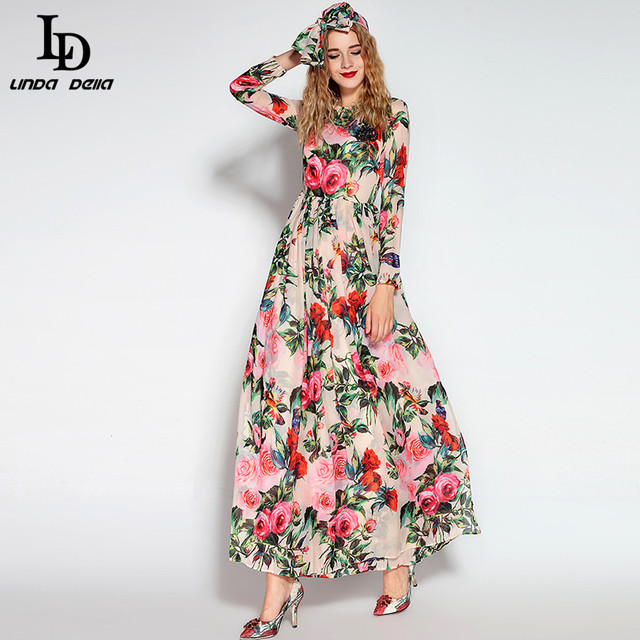 6d108361c7eedd 2016 Runway Maxi Dress High Quality Women's Long Sleeve Sequined Beading  Rose Floral Bird Printed Long