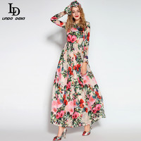 LD LINDA DELLA 2018 Runway Maxi Dress Women's Long Sleeve Sequined Beading Rose Floral Bird Printed Long Dress With Scarf