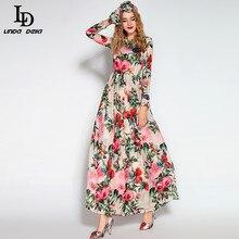 LD LINDA DELLA Maxi ชุดผู้หญิงแขนยาว Sequined ประดับด้วยลูกปัด Rose นกดอกไม้พิมพ์ชุดผ้าพันคอ