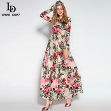 LD LINDA DELLA robe longue manches longues, paillettes et perles, imprimé Floral oiseau, longue, écharpe